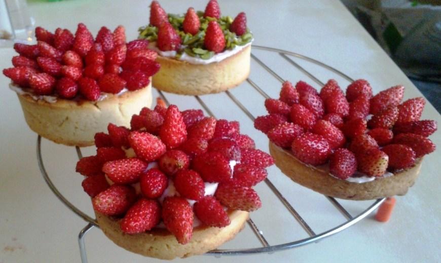 Tartelettes fraises des bois-crème bonbon