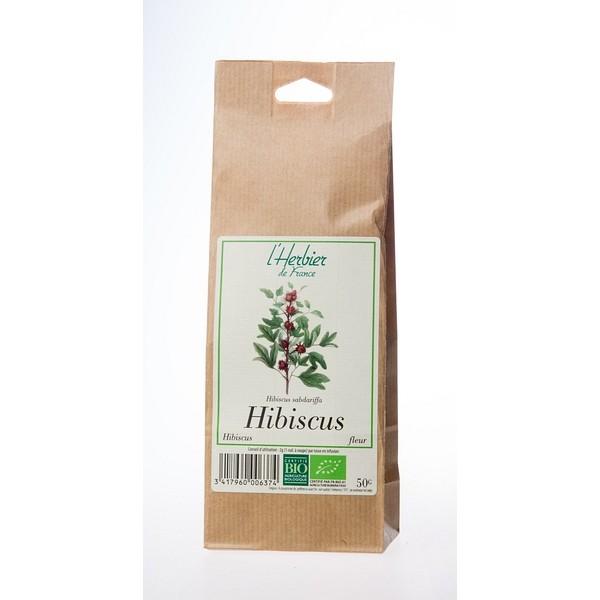Les fleurs d'hibiscus sèches utilisées, disponibles en magasin bio